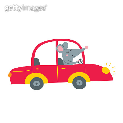 Illustration of rat driving red car