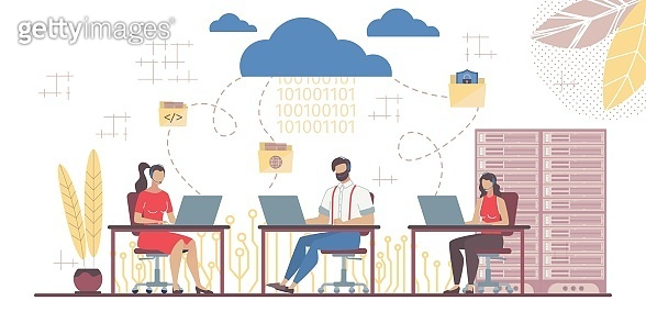 Team Working in Saas Connected with Main Cloud