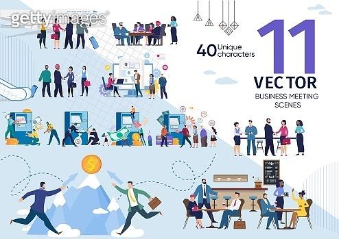 Business Partners Meeting Flat Vector Concepts Set