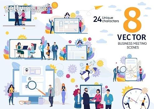 Job Interview Meeting Flat Vector Concepts Set