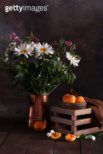 flowers and apricots