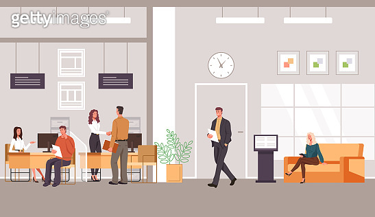 Bank office interior and client with banking specialist workers. Vector flat graphic design cartoon illustration