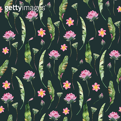 Watercolor seamless pattern of tropical flowers and leaves on dark background. Floral element for fabric, paper, wrapping and wallpaper