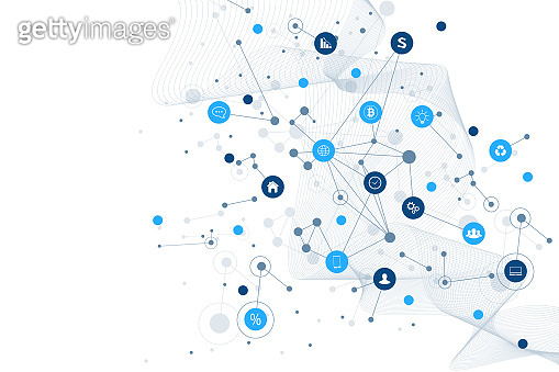 Internet of things IoT and networking concept for your design presentation. Futuristic network connection background for world trade. Internet of things business industry 4.0. Vector illustration.