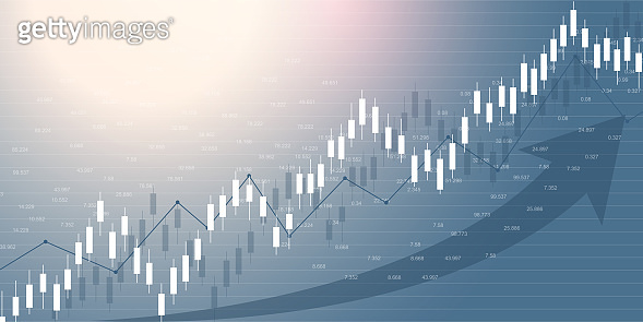 Stock market and exchange. Business Candle stick graph chart of stock market investment trading. Stock market data. Bullish point, Trend of graph. Vector illustration