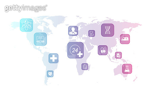 Abstract health care background with flat icons on world map. Scientific business template healthcare. Innovation medical banner template. Vector illustration.