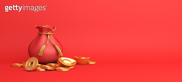Happy Chinese new year decoration with red pouch money bag, Chinese gold coins, copy space text, wide composition, 3D rendering illustration