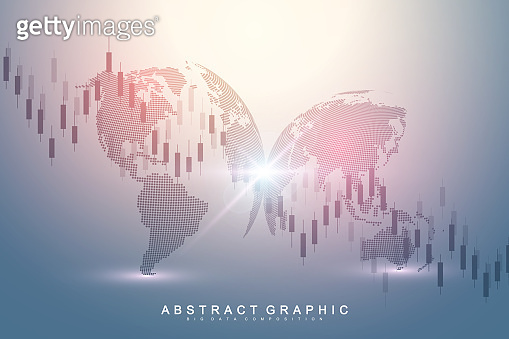 Stock market graph or forex trading chart for business and financial concepts. Stock market data. Bullish point, Trend of graph. Vector illustration.