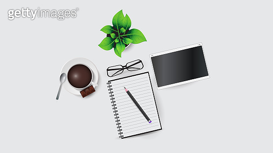 Vector illustration of workplace elements in the office. Laptop, glasses, notebook and pencil, coffee cup, flower. EPS 10.