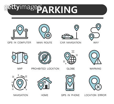 Navigation solid icons set. Gps, maps, travel,