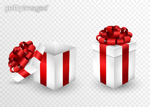 Two gift boxes, open and closed, wrapped in a red ribbon and bow on top. square shaped gifts