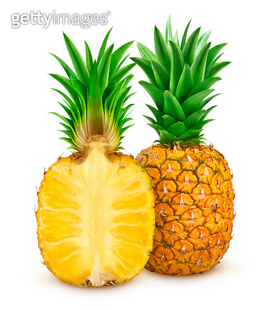 Whole and sliced pineapple isolated on white background