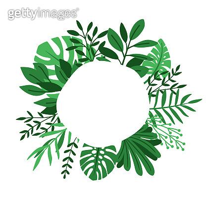 Green leaves circle frame
