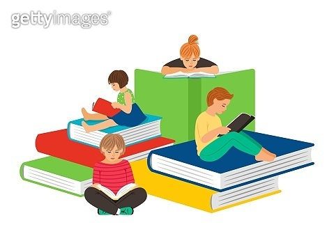 Kids reading books
