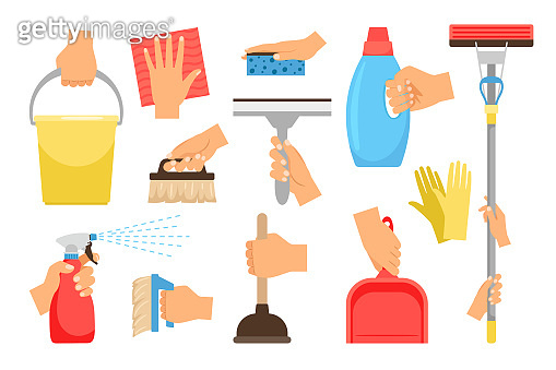 Hands with household equipment