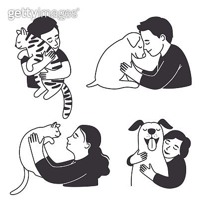 Cartoon childrens love home animals