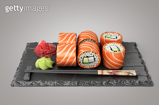 showcase product presentation rolls set on a black stone plate 3d render on grey gradient