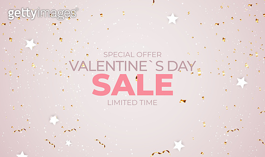 Valentine's Day sale banner Background Design. Template for advertising, web, social media and fashion ads. Horizontal poster, flyer, greeting card, header for website Vector Illustration EPS10