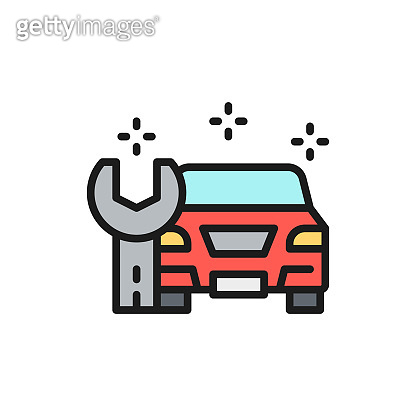 Car repair, service station flat color line icon. Isolated on white background