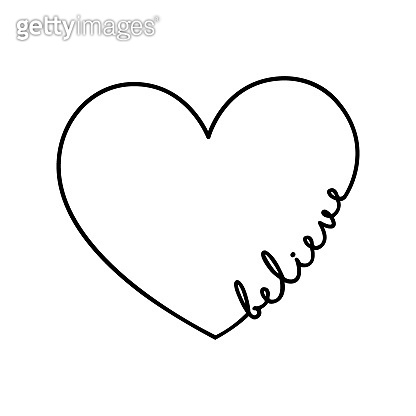 Believe - calligraphy word with hand drawn heart. Lettering symbol illustration for t-shirt, poster, wedding, greeting card