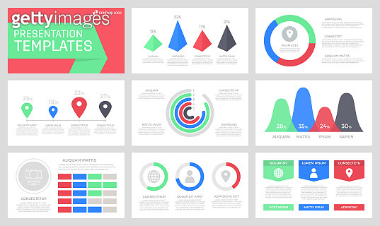 Set of green, blue and red elements for multipurpose presentation template slides with graphs and charts.