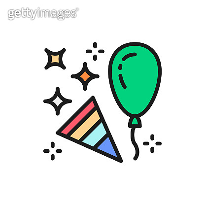 Confetti party popper with balloon flat color line icon.