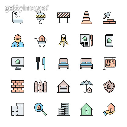 Set of Real Estate Color Line Icons. Bathroom, Traffic Cone, Barrier and more