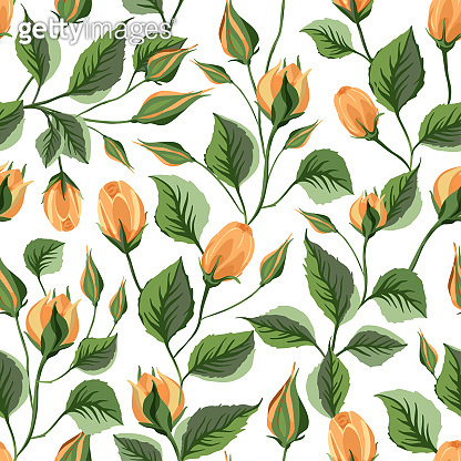 Rose flower vector seamless pattern.