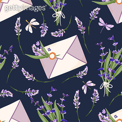 Provence seamless vector lavender pattern.