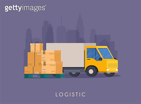Delivery track and carton boxes. Flat design modern vector illustration concept.