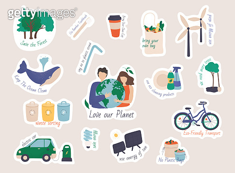 Collection of ecology stickers with slogans.  Collection of zero waste reusable items or products - glass jars, eco grocery bags, thermo mug, food container, soap and shampoo bars.