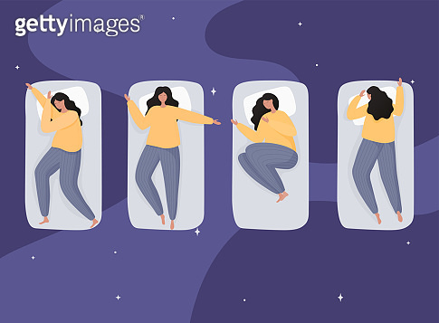 Young woman sleeping in bed in various poses. Colorful vector illustration in flat cartoon style.
