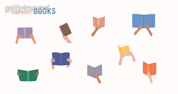 Read more books concept. Books and reading set. Flat cartoon colorful vector illustration.
