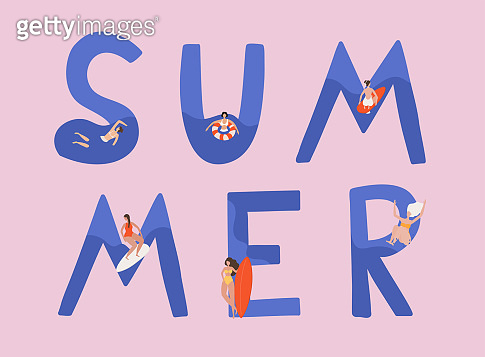 Summer vector illustration with women swimming, diving, surfing. Flat cartoon vector illustration.