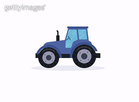 Tractor. Vector illustration of a blue tractor in a flat style.