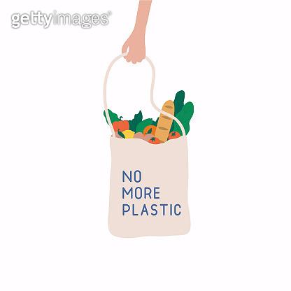 No more plastic concept. Hand drawn elements of zero waste.