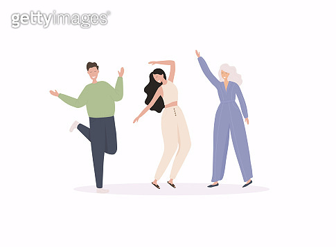 Group of young happy dancing people Colorful vector illustration in flat cartoon style.