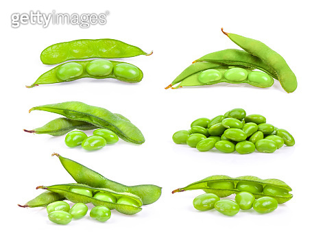 green soy beans isolated on white background