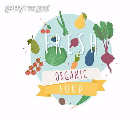 Fresh organic food. Healthy diet flat style illustration. Isolated green food, can be used in restaurant menu, cooking books and organic farm labels.