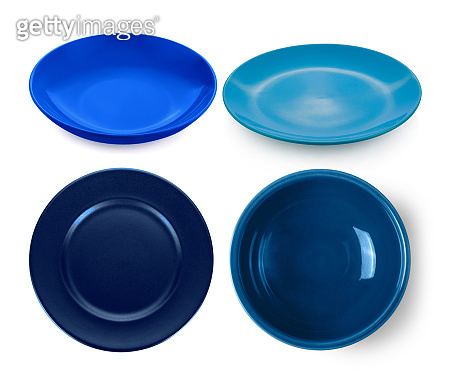 empty blue plate and bowl isolated on white