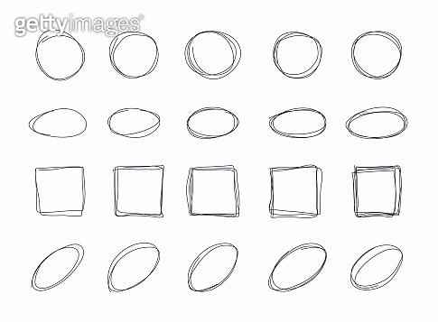 Hand drawn different shape line sketch set. Vector illustration.