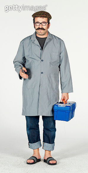 Repairman isolated on a white background