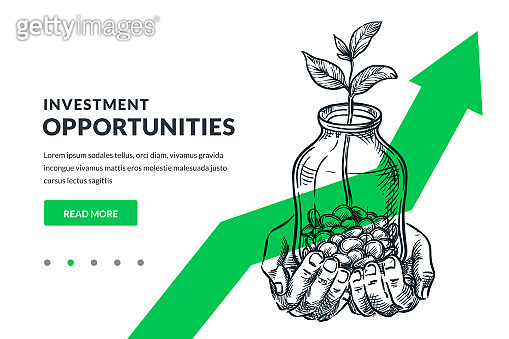 Investment finance growth business concept. Human hands hold glass jar with coins and tree. Vector sketch illustration