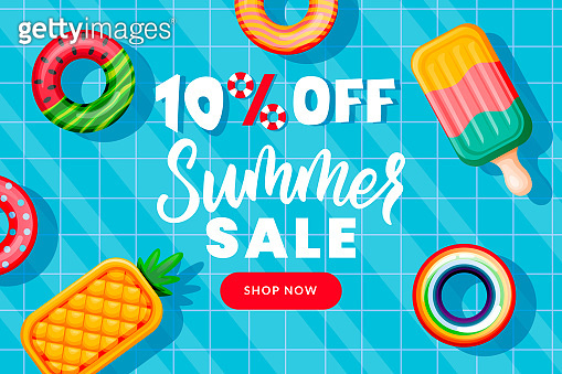 Summer sale banner design template. Inflatable floating funny toys in swimming pool, top view vector illustration