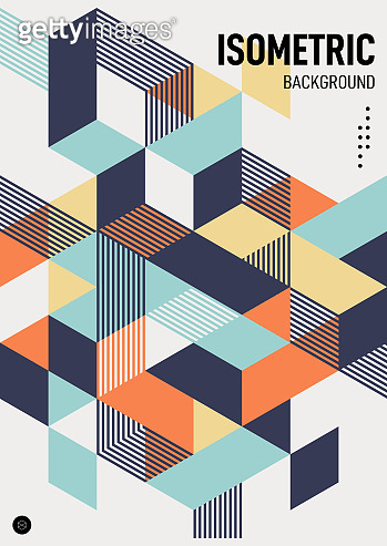 Abstract isometric geometric shape layout design template poster background modern art style