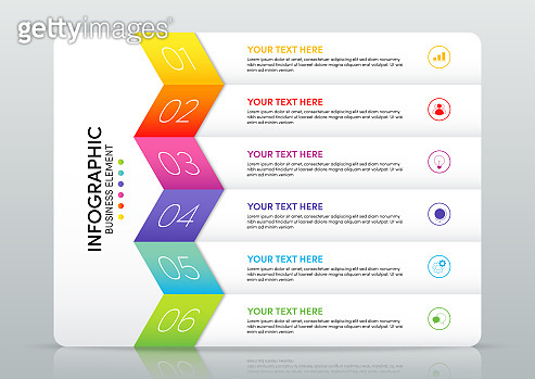 Modern infographic business template and data visualization with 6 options