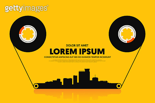 Music poster design template background with cassette tape and cityscape modern vintage retro style