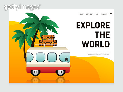 Travel landing page, website template design decorative with vacation concept modern flat design