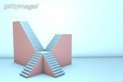 3d rendering of stairs and steps as podium.