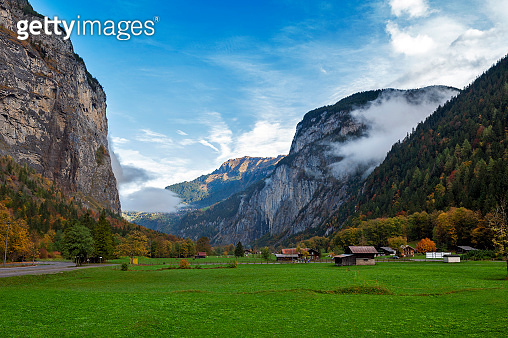 Scenic view of Stechelberg, a small alpine village located at the base of the Schwarzmonch mountain in the Bernese Alps in Lauterbrunnen, Switzerland